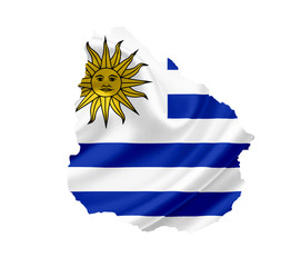 Map of Uruguay with waving flag isolated on white