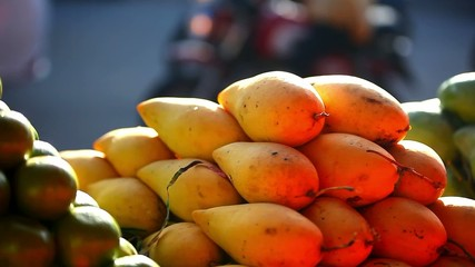 Exotic fruits for sale in the street Asian market. Video