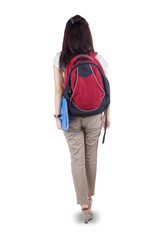 Rearview student walking on white background