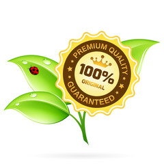 100 Premium Quality Label with Leaves