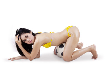 Sexy woman in bikini and soccer ball 1