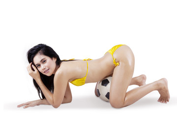 Sexy woman in bikini and soccer ball 2