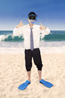 Successful businessman wearing snorkeling tools 1
