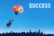 Woman flying with balloons to get her success 1