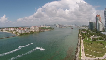 Aerial view of Miami Beach waterways