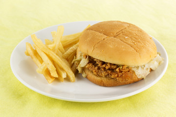 crispy chicken burger with french fried