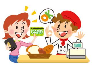 パン屋でカード払い_イラスト