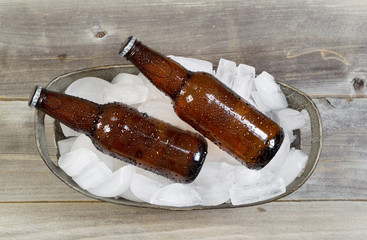 Top View of Bottled Beer on Ice