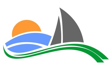 Yachts and sailboats symbols for yachting sport design or logo
