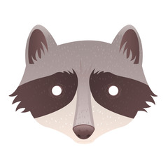 Cute cartoon raccoon isolated sticker