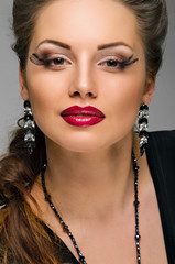 Glamour woman with red lips