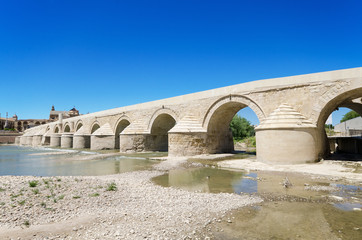 Roman bridge and Guadalquivir river in Cordoba, Spain.