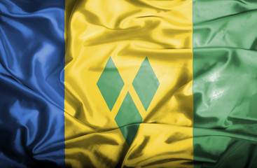 Saint Vincent and Grenadines waving flag