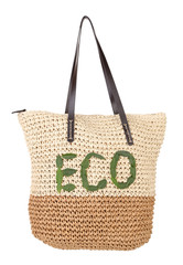 Summer wicker Eco bag, isolated on white