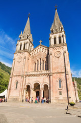 celebrating a mass at Covadonga Basilica in Asturias, Spain.