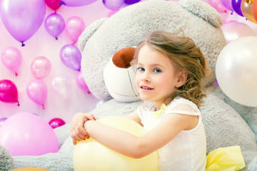 Image of beautiful little model posing in playroom