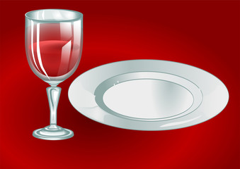 wine glass with plate