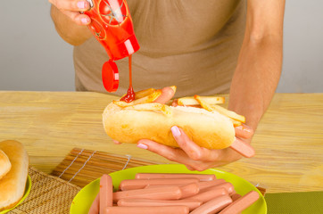 Ketchup on hot dog