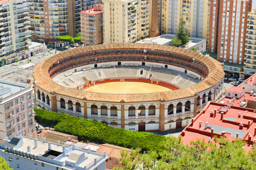 Bullring fight arena in Málaga, Andalusia, Spain.