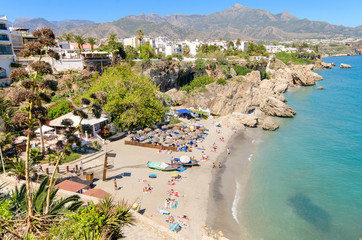 Nerja beach, touristic town in costa del sol, Malaga, Spain.