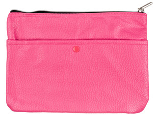 pink leather case isolated on white background