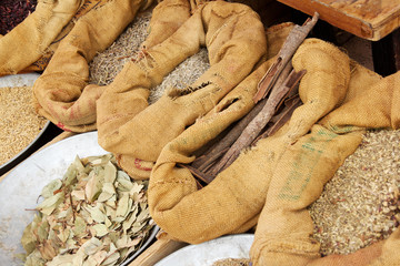 Spices and herbs in a market