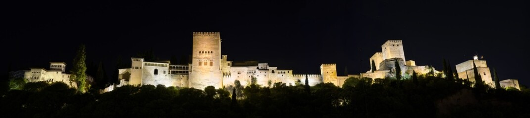 Night Panorama of the famous Alhambra palace, Granada, Spain.