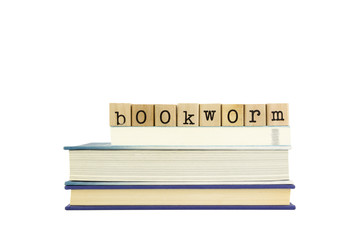bookworm word on wood stamps and books