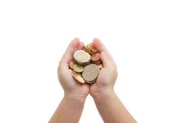 isolated of child's hands holding coins
