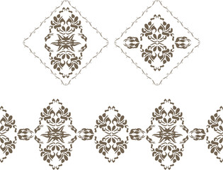 Ornamental elements and border for decor isolated on the white