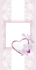 Light violet ornamental background with heart and orchids