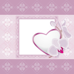 Light violet ornamental frame with heart and blooming orchids