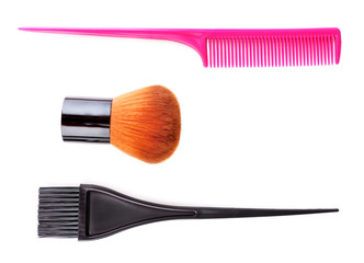 Make-up brush, brush and comb isolated on white