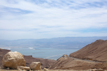 View on Dead Sea from the clifs. Israel