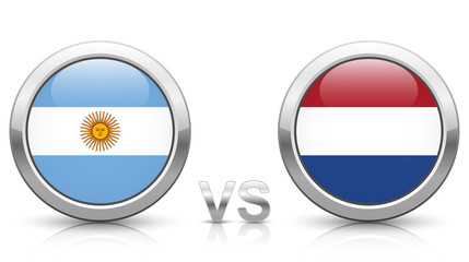 Argentina vs. Netherlands - icons buttons with national flags
