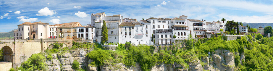 Panoramic view of Ronda houses, Ronda Malaga, Andalusia, Spain.