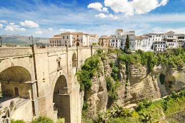 Ronda bridge and canyon, Ronda, Malaga, Andalusia, Spain.