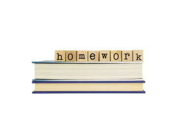 homework word on wood stamps and books