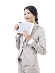 asian businesswoman with tablet computer, isolated on white