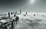 Fototapety Dubai skyline in fog