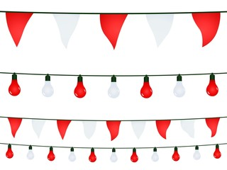 Garlands in red and white