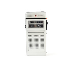 Vintage dictaphone isolated on white.