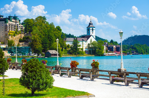 canvas print picture View of St. Wolfgang waterfront