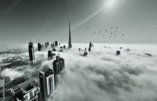 Fototapeta samoprzylepna Dubai skyline in fog