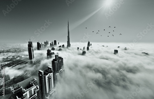 Dubai skyline in fog Poster