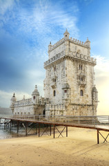 Tower of Belem at sunset. Lisbon, Portugal