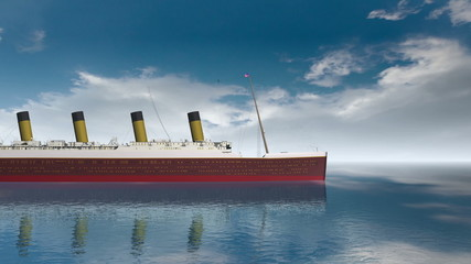 Ocean liner Titanic on a calm sea.