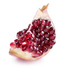 One pomegranate quarter piece isolated on white background