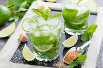 Fresh mojito cocktail in glasses