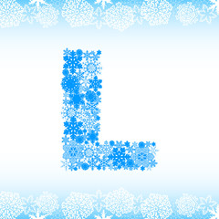 Snow alphabet. Letters from snowflakes